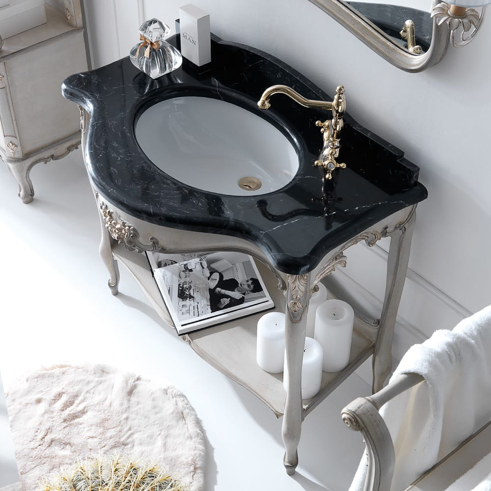 bathroom vanity unit black marble finish top