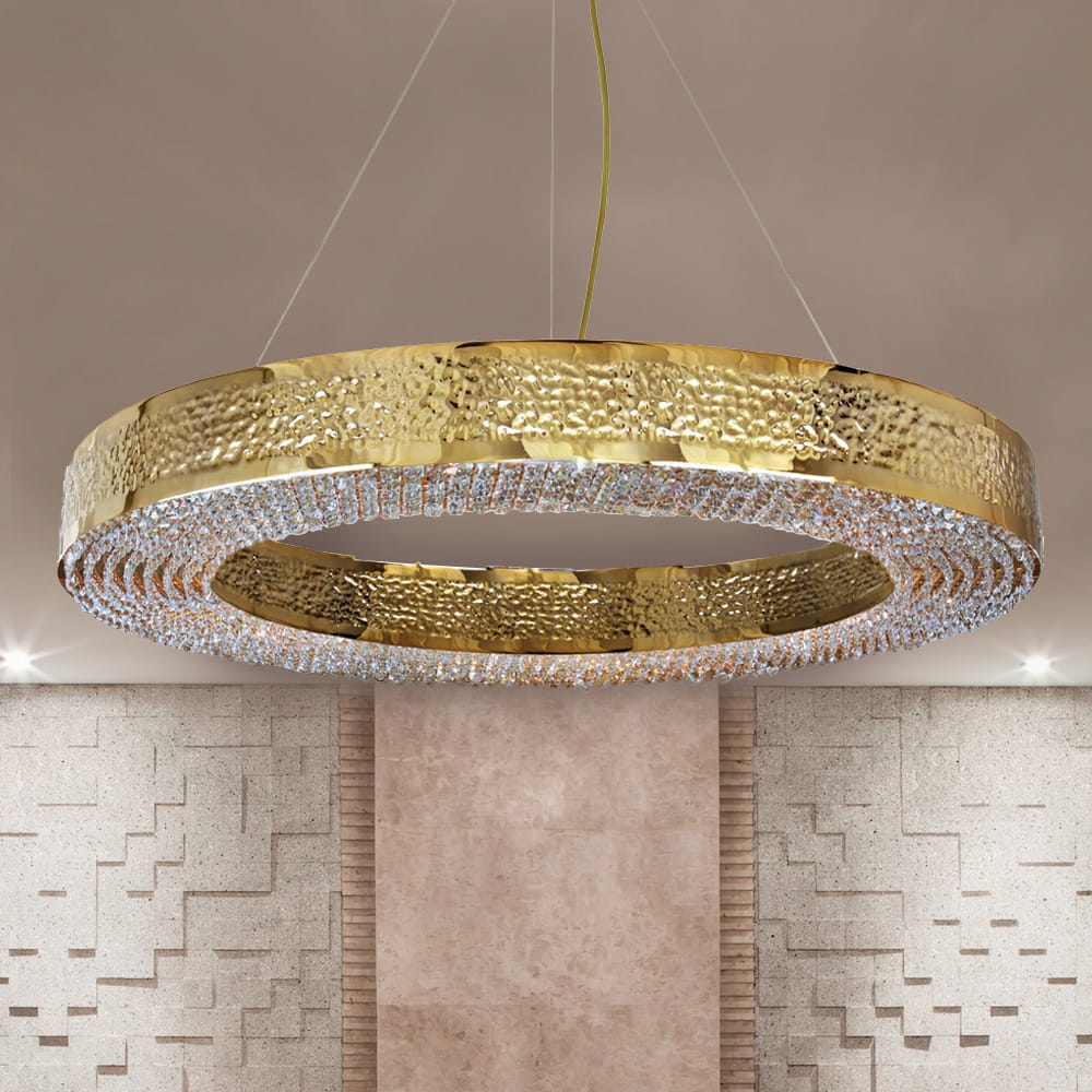 hammered gold plated crystal hoop chandelier