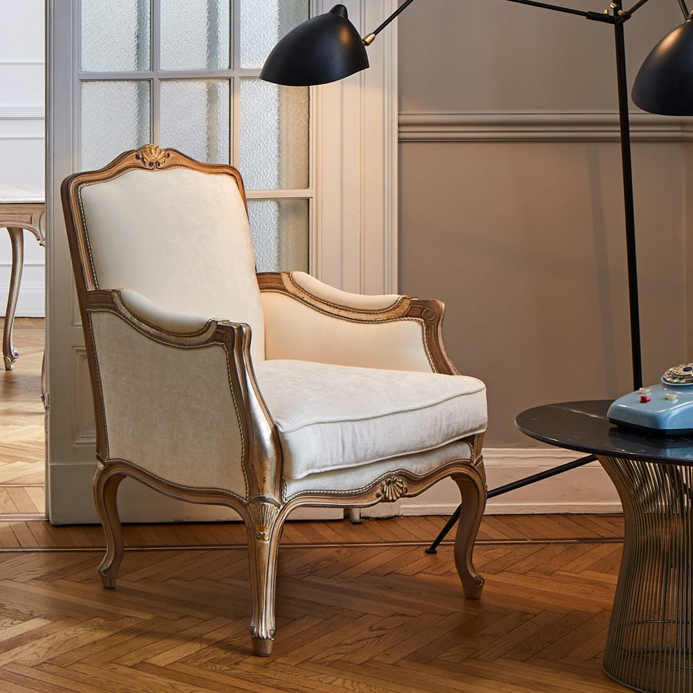 Florence Collection, carved armchair, ivory upholstery, curved with scrolls, ornate