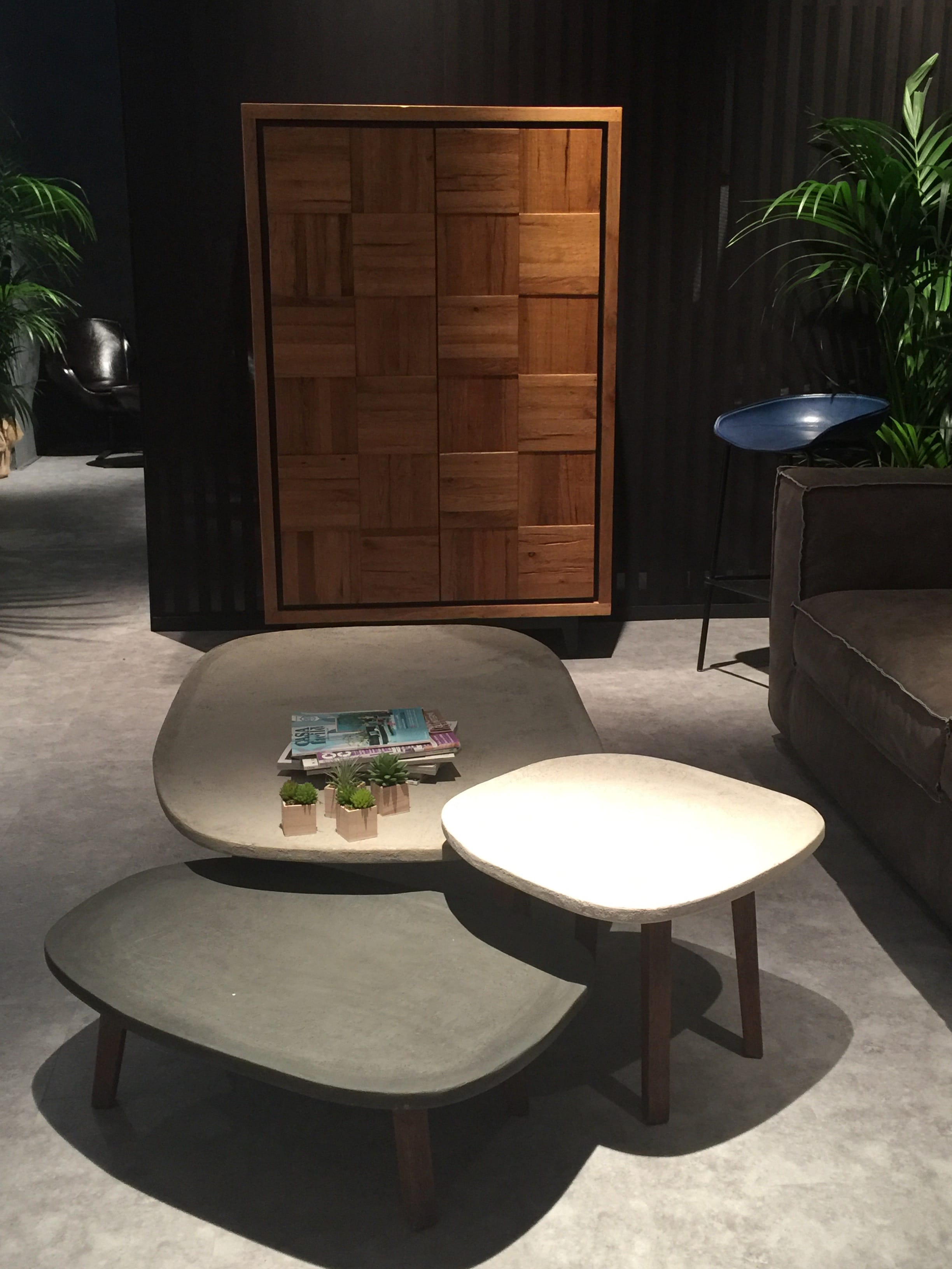 milan update stone topped side tables