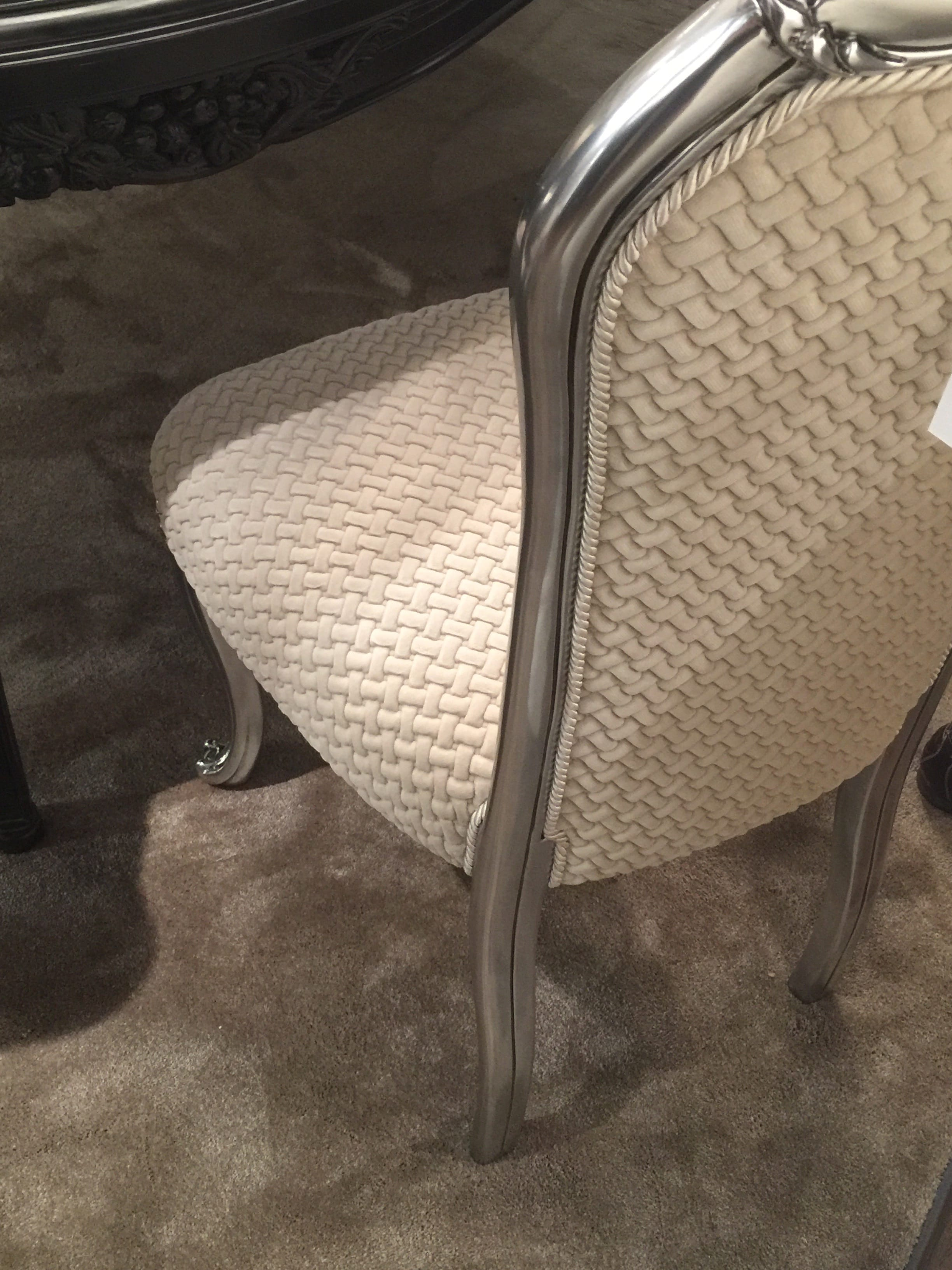milan update dining chair cream highly textured fabric
