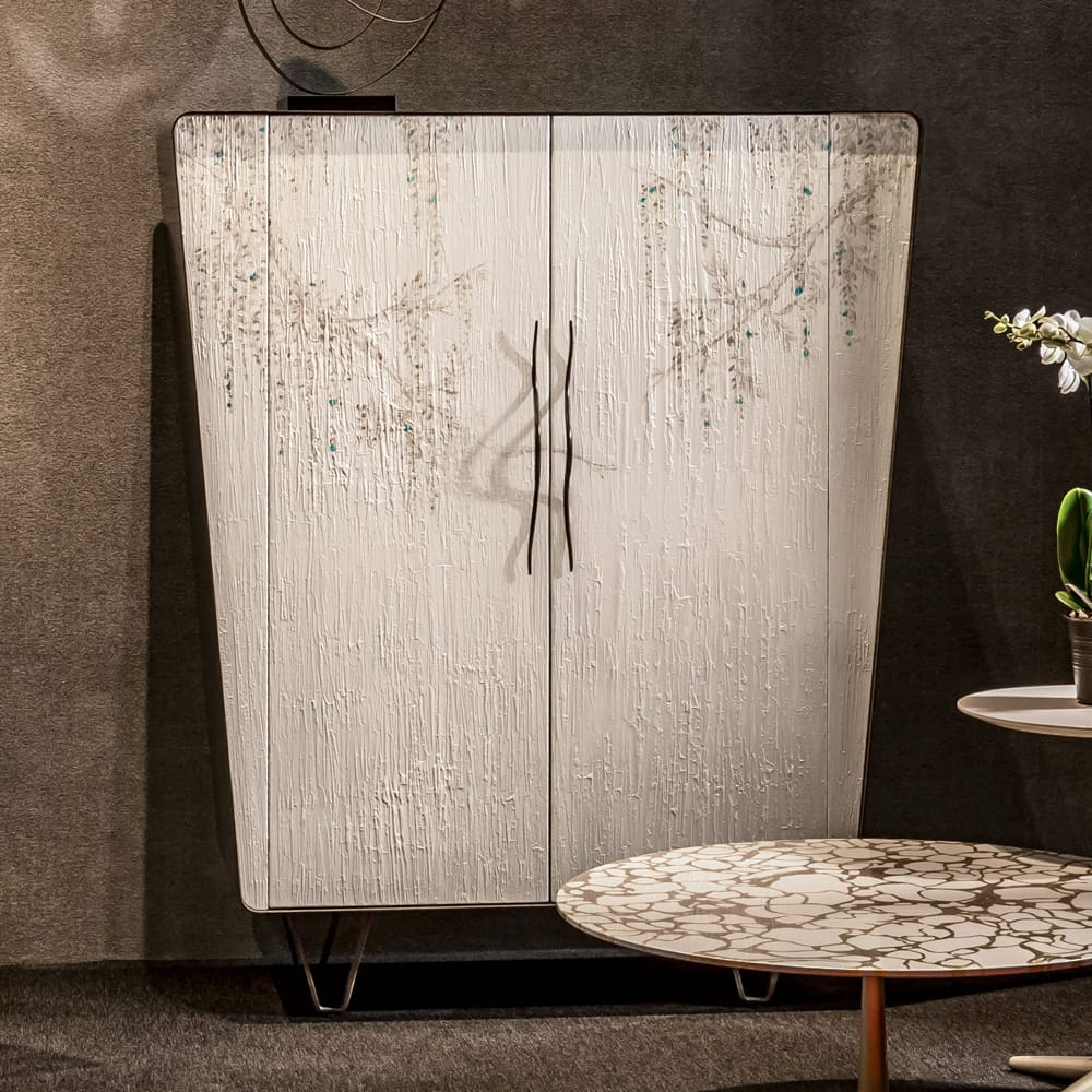 Chelsea Collection, tall cabinet, hand painted with cream and wisteria design