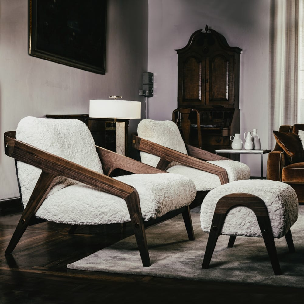 Impress the guests, Italian contemporary walnut armchair and footstool in furry textured fabric, cream