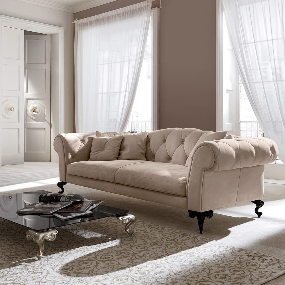 Statement furniture, classic style sofa in nubuck leather with button upholstered back