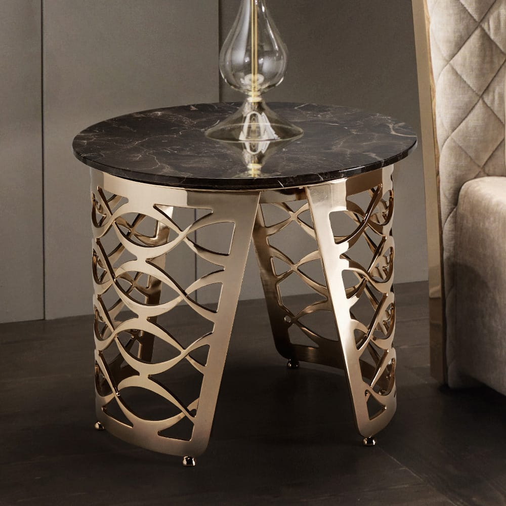 Halloween decor, gold plated side table with brown marble top