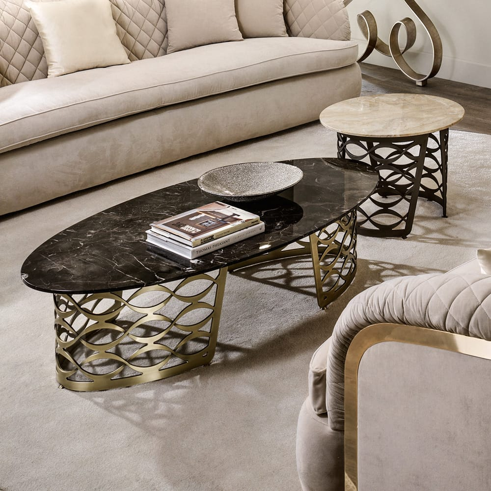 Chelsea Collection, oval marble coffee table with laser cut, gold plated base
