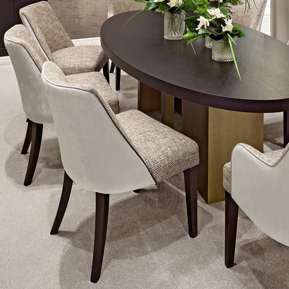Dining set with velvet and textured dining chairs