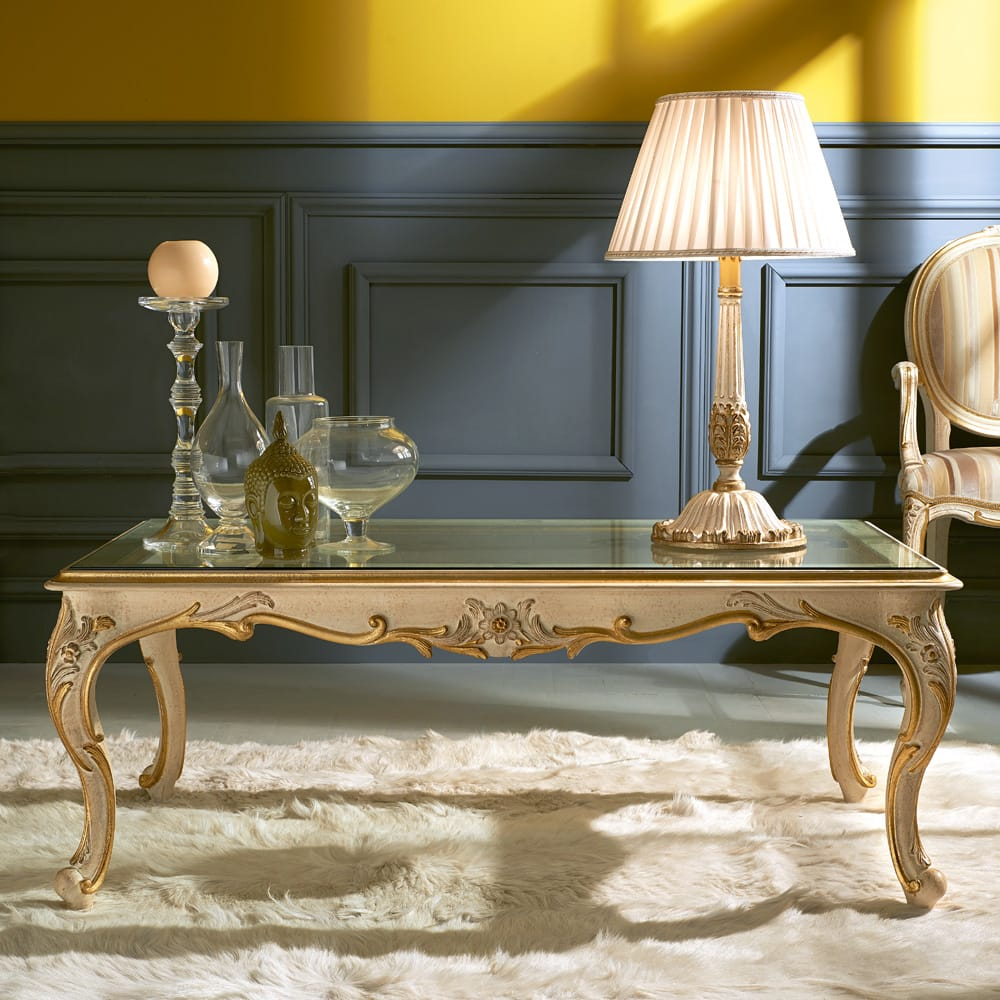 Florence Collection, rectangular ornate coffee table, carved wood, curved legs