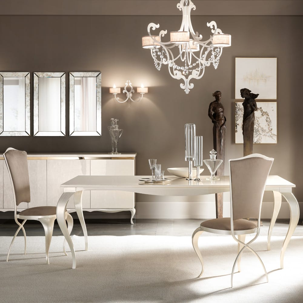 Chelsea Collection, dining set, mother of pearl finish table, chairs with curved, crossed legs