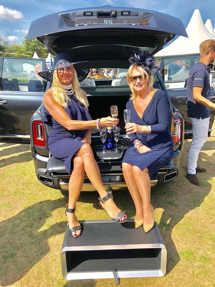 Salon Privé 2018, Juliette and Fiona in a Rolls Royce with champagne