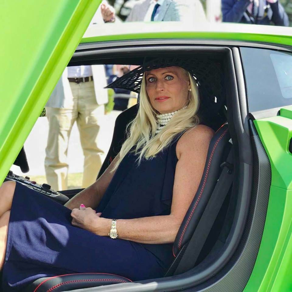 Juliette in a green supercar, Salon Privé 2018