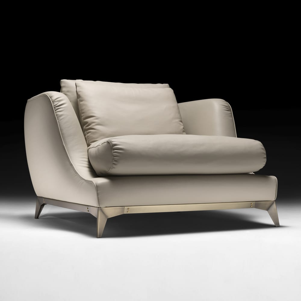Large Leather fabric Contemporary Armchair
