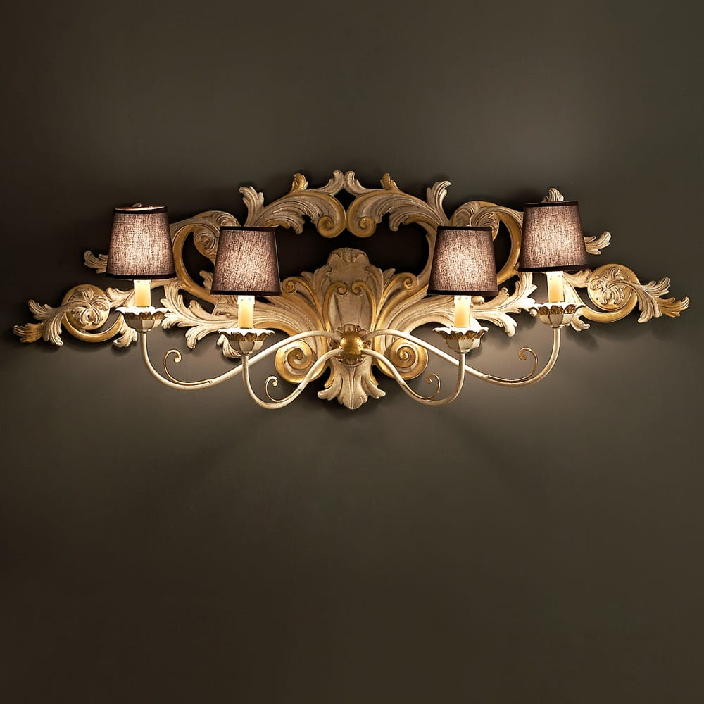 Florence Collection, ornate wall light with scrolls, 4 arms