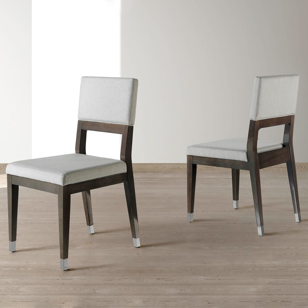 Impress the guests, London Collection contemporary walnut and fabric dining chair
