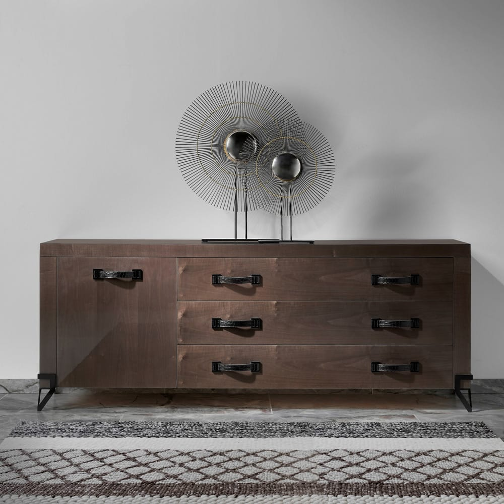 Large contemporary sideboard, dark walnut veneer, with 3 wide drawers and 1 cupboard, black handles, autumn arrivals