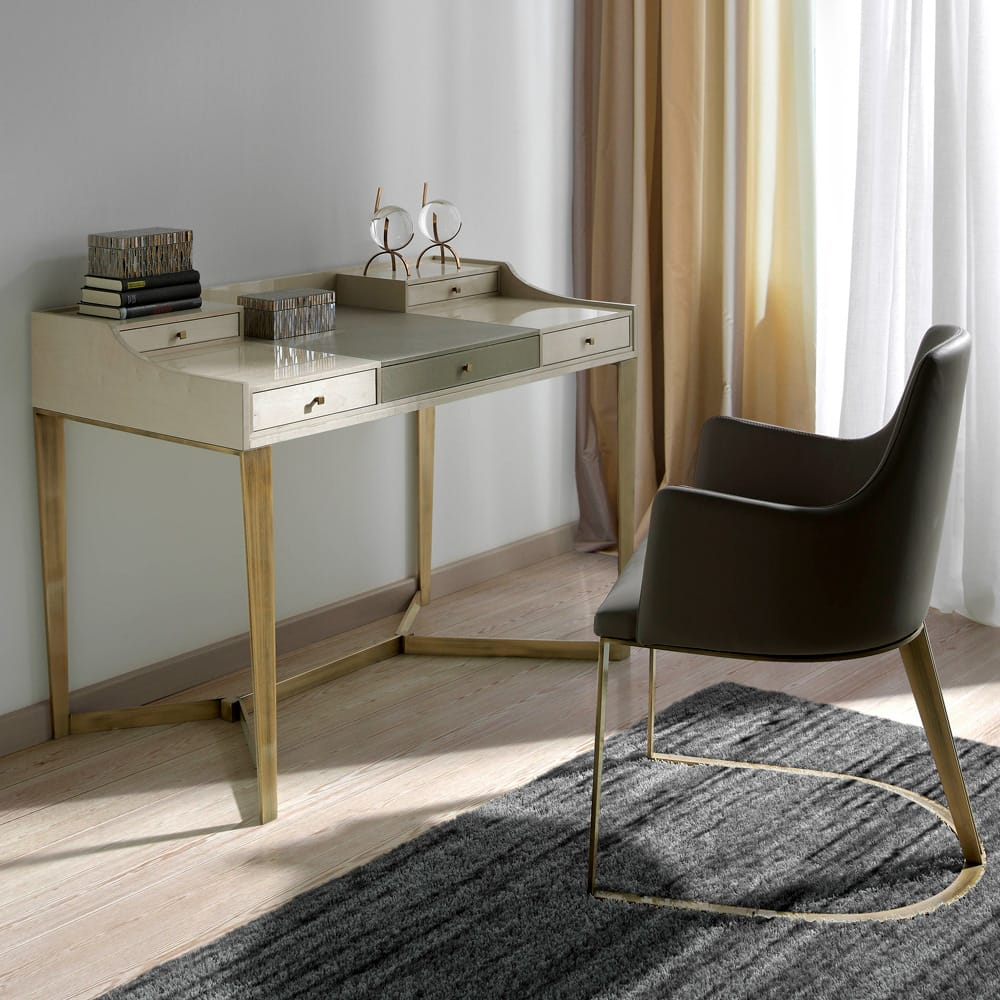 Impress the Guests, London Collection small, modern writing desk or dressing table, grey and ivory gloss finish