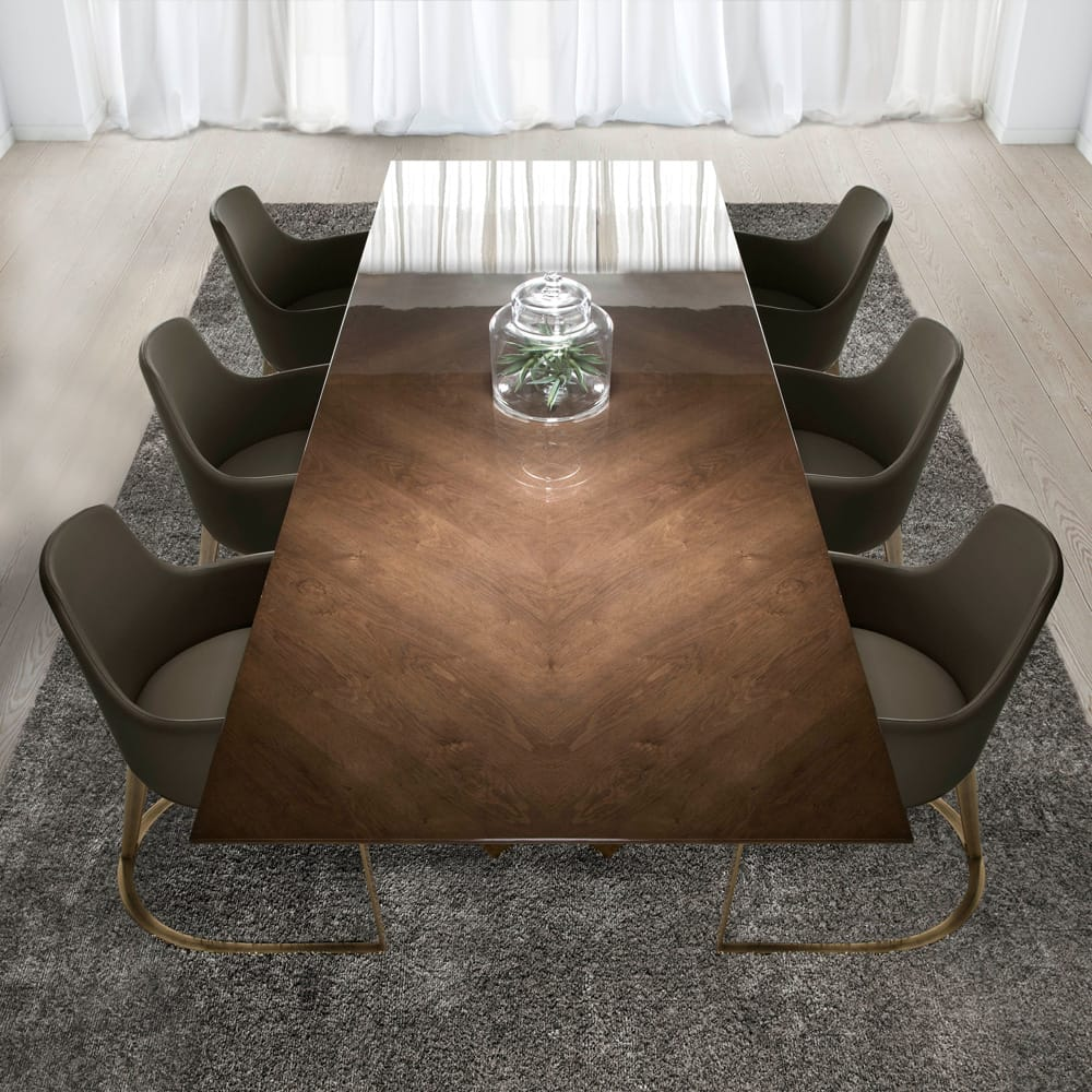 Impress the guests, large rectangular table with high gloss oak veneer