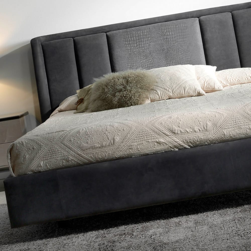 Impress the guests, London Collection nubuck leather upholstered bed in dark grey