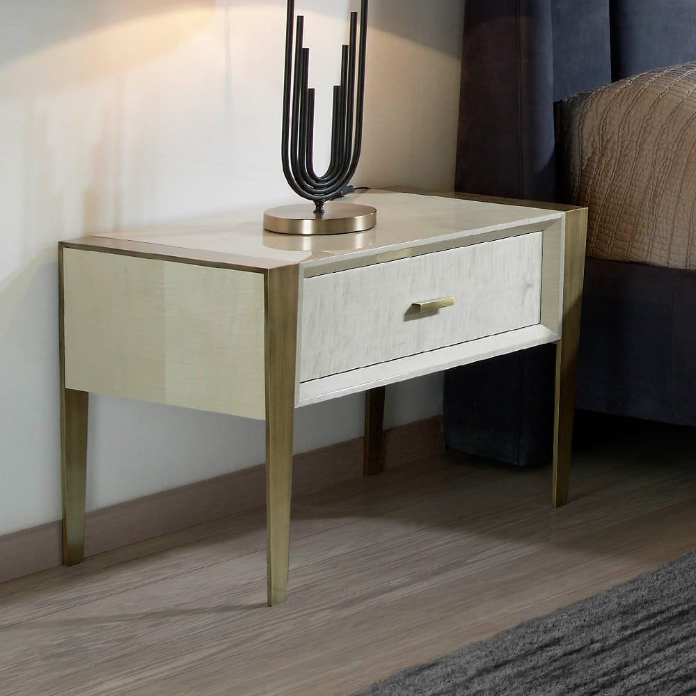 Modern, High gloss, maple veneered bedside cabinet with brushed bronze, tapered legs, autumn arrivals