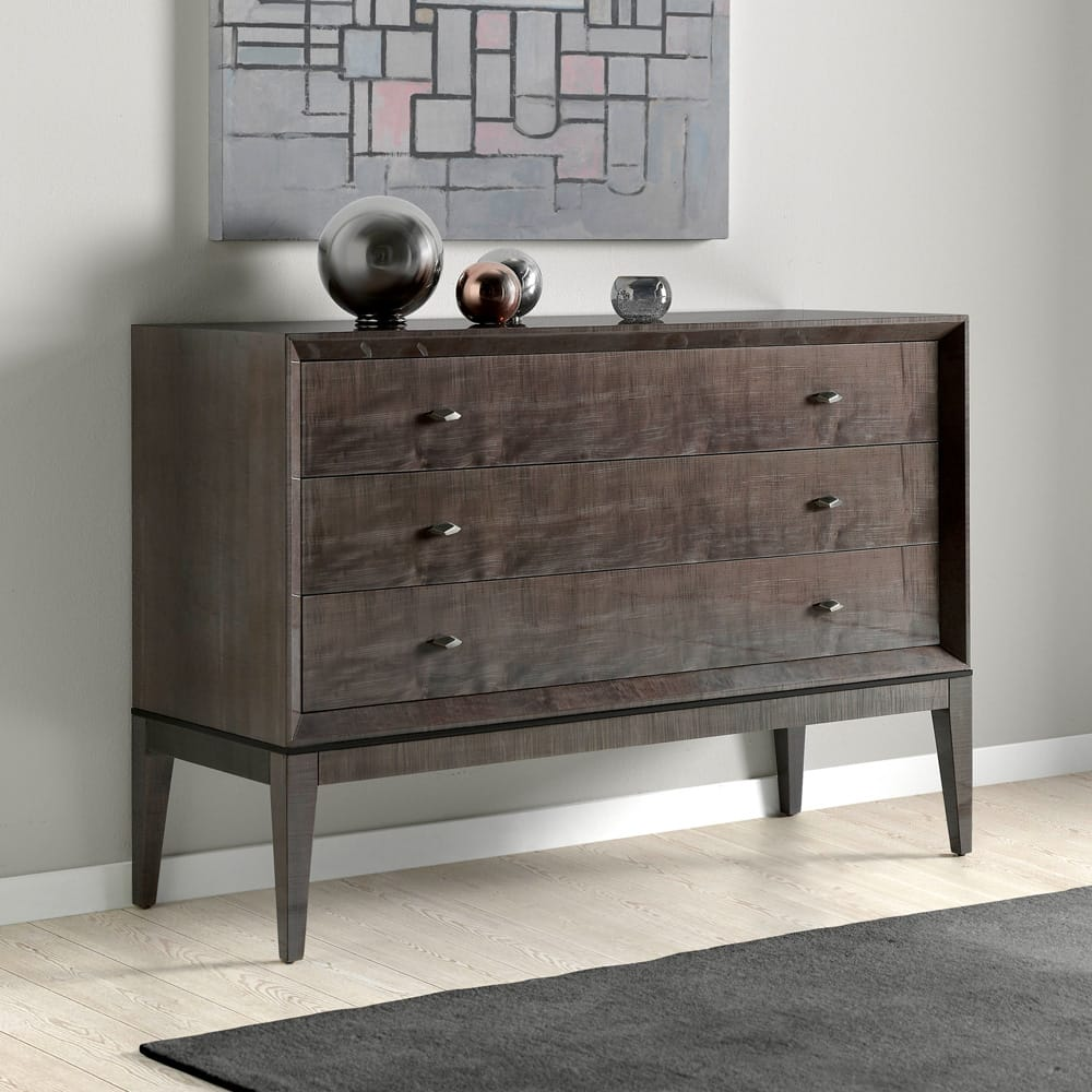 Impress the guests, London Collection sleek, modern chest of drawers in dark maple veneer