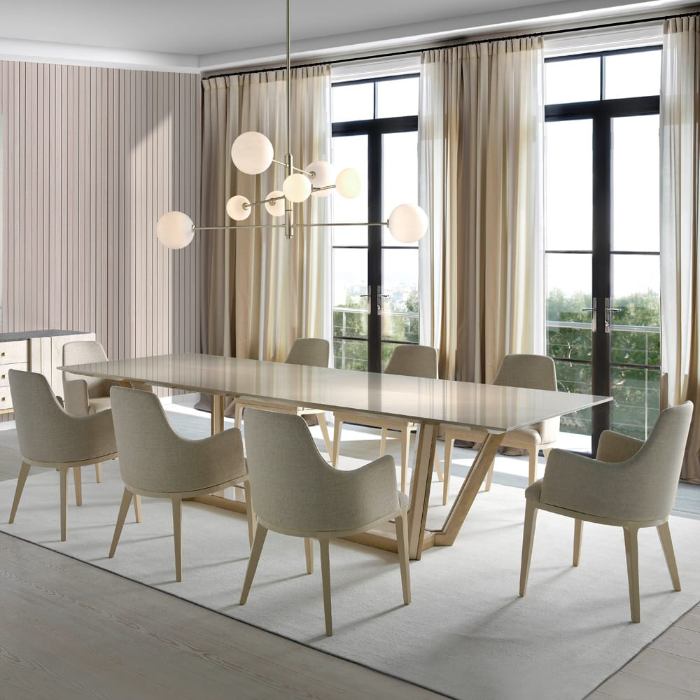 Impress the guests, large rectangular table with gloss maple veneer, brushed gold base, 8 chairs