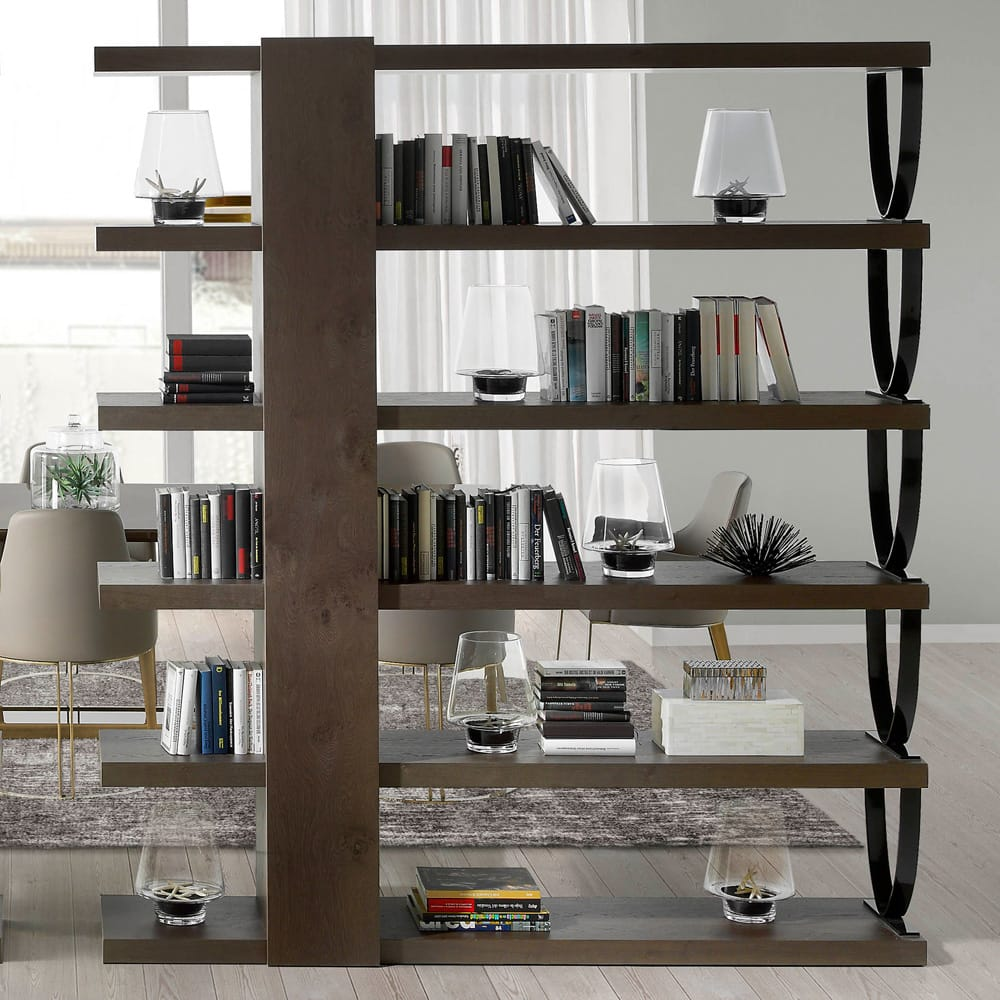 Bookshelf with 6 shelves, oak veneer, modern design with u-shaped metal brackets, autumn arrivals