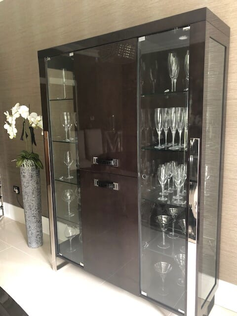 ex display, London Collection contemporary display cabinet, gloss wood veneer