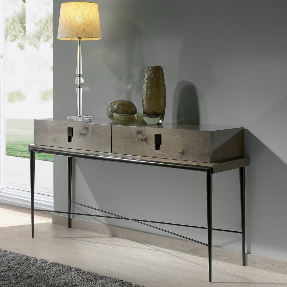 Modern console table in high gloss lacquer with slim, black metal legs and cross bar, black rectangular handles, autumn arrivals