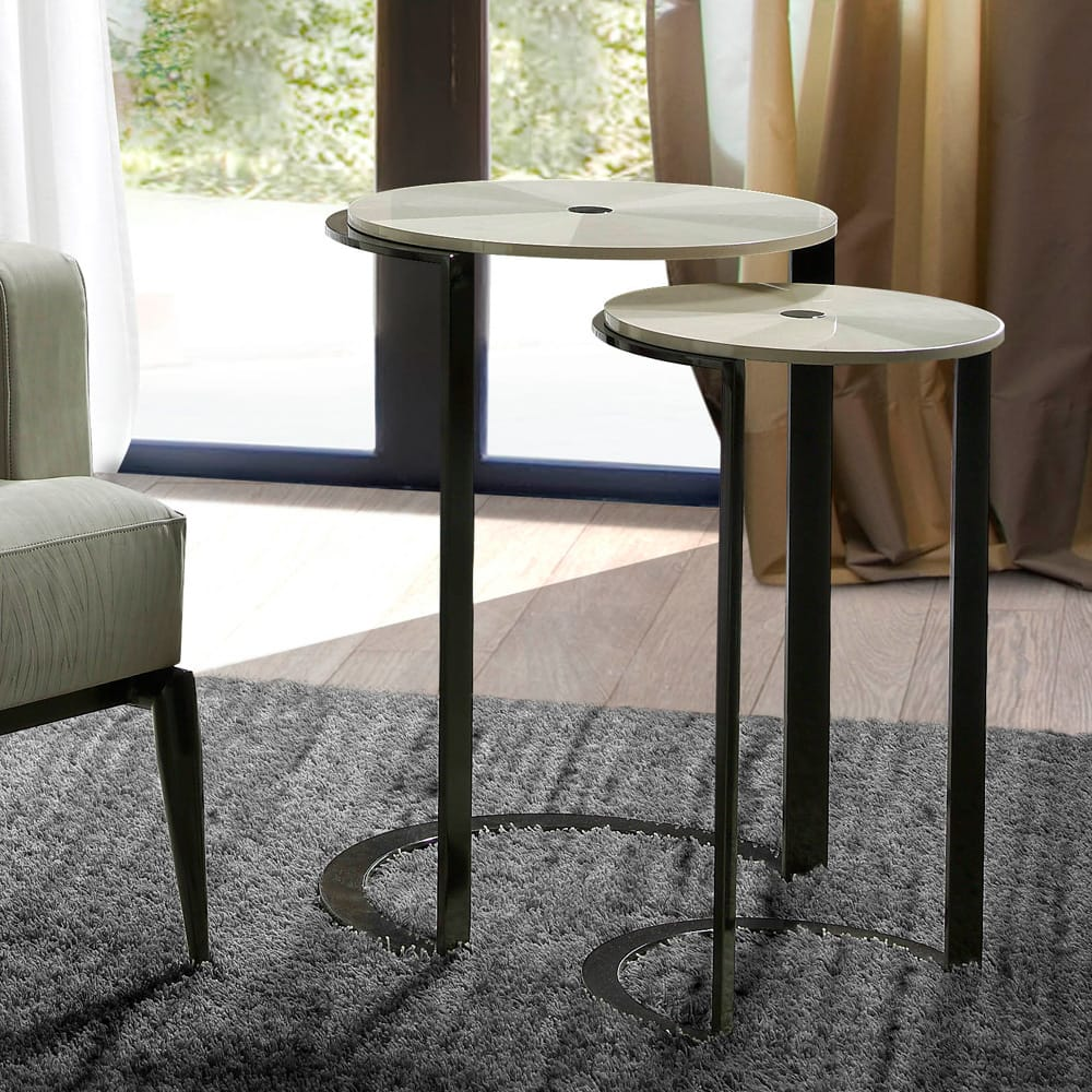 Pair of modern tables with slim, dark metal legs and maple veneer top, autumn arrivals