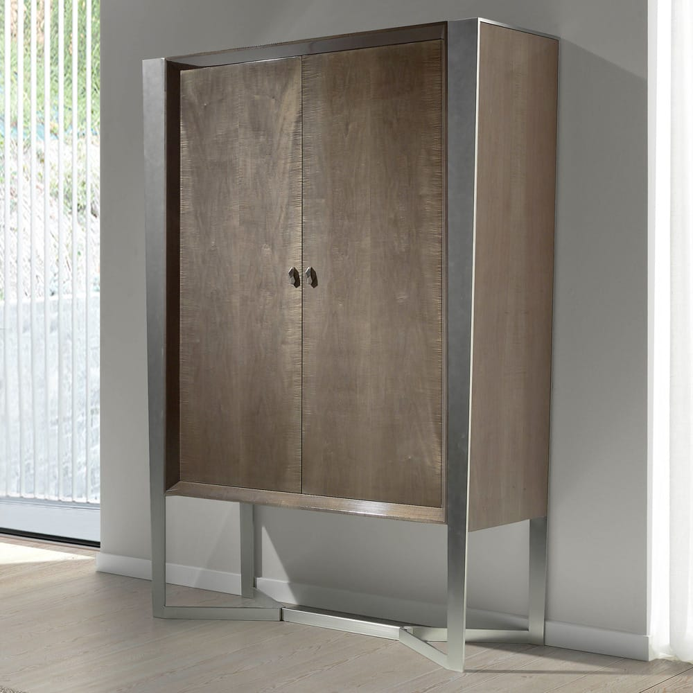 Drinks Cabinet, tapered, wood veneer with chrome accents and base, autumn arrivals
