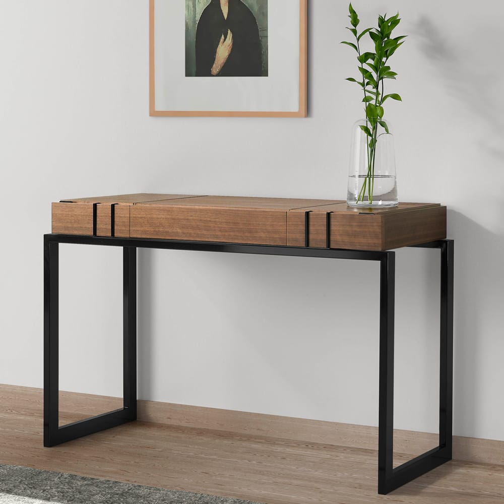 Modern dressing table with black metal legs, walnut veneer top, 2 drawers and hidden mirror compartment, autumn arrivals