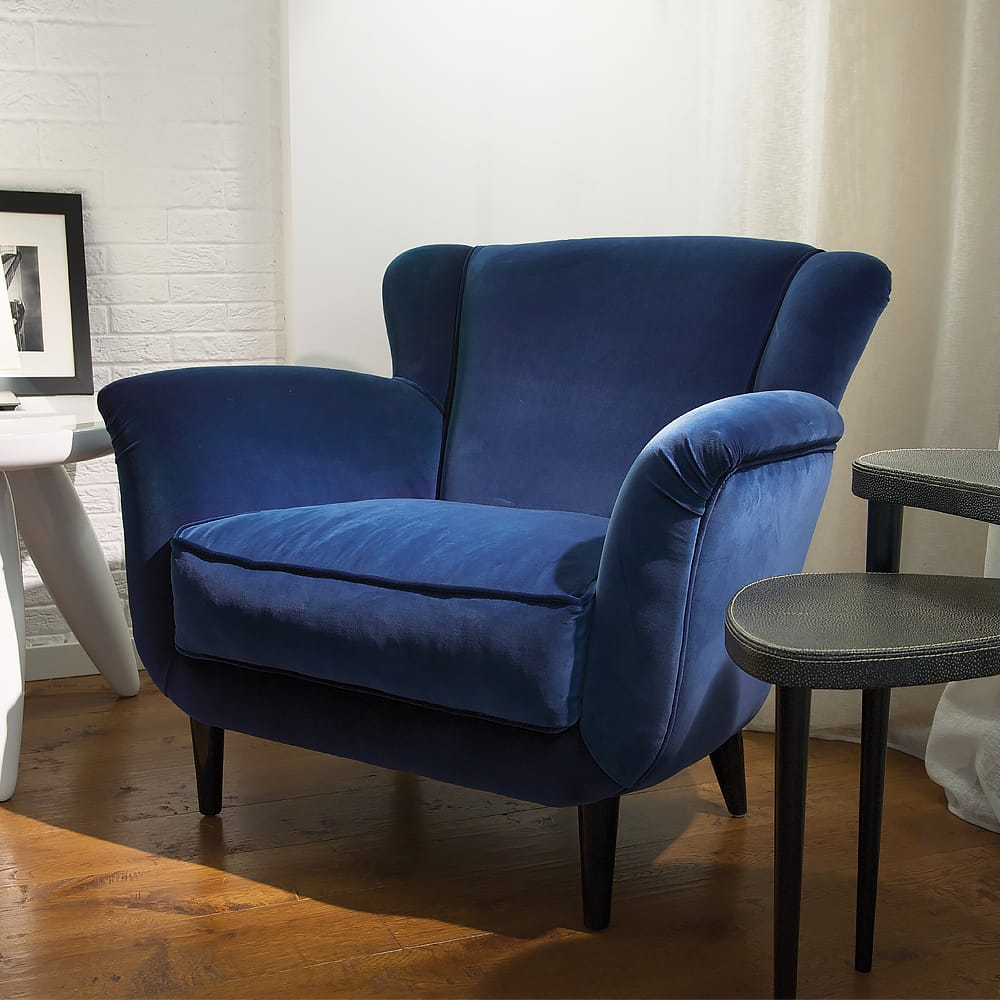 statement furniture, large, comfortable blue velvet armchair