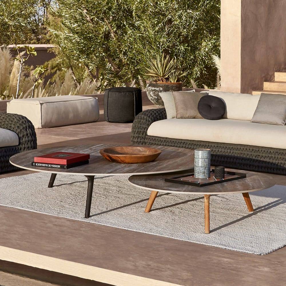 outdoor furniture, two coffee tables, dark top