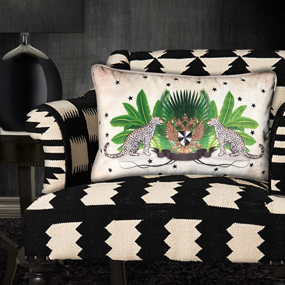 new arrivals, cushion with leopards and crest