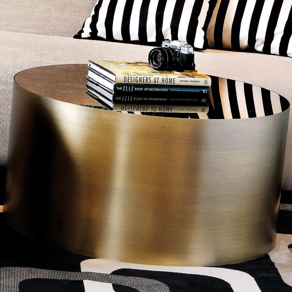 coffee table brushed bronze finish