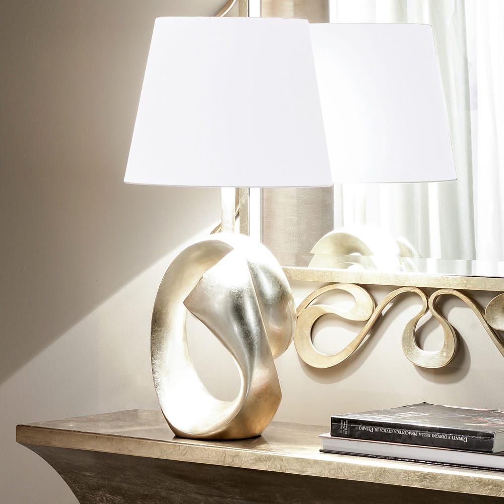 Impress the guests, modern, abstract design lamp, swirl design with champagne leaf finish