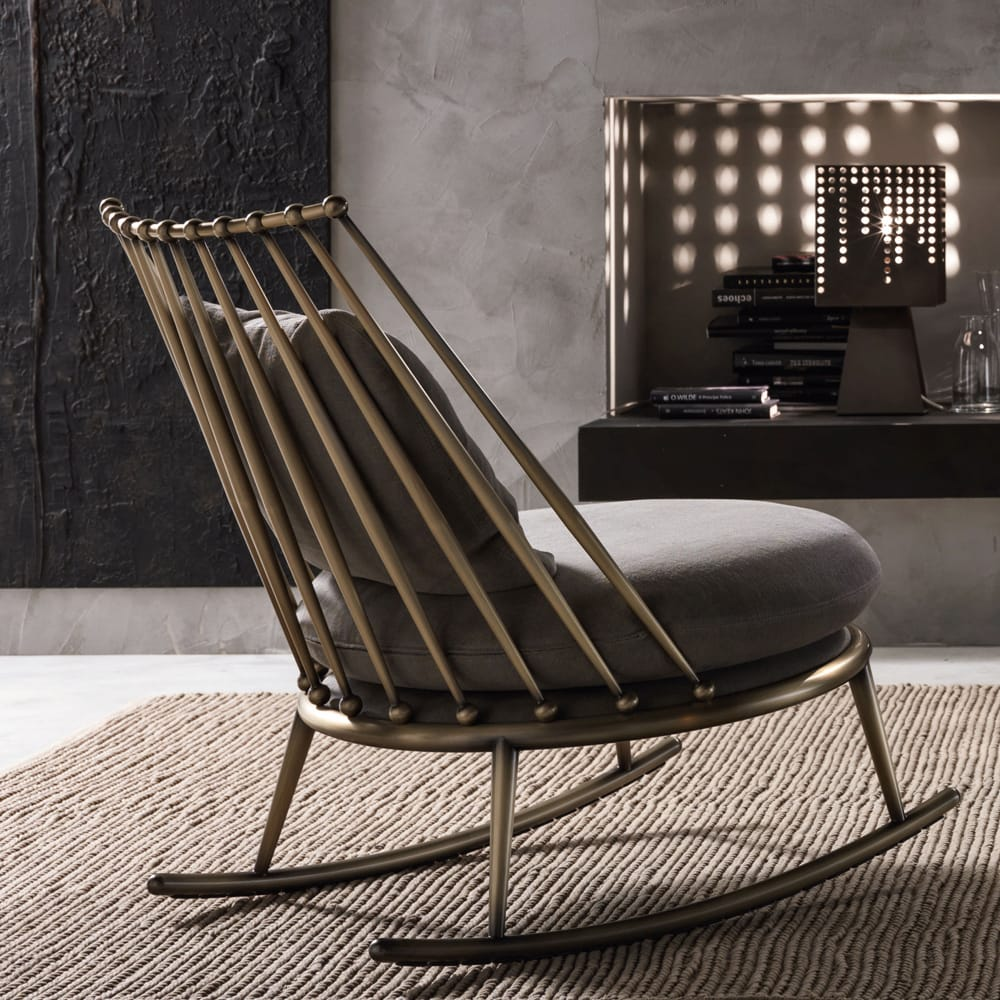 Impress the guests, brass rocking chair with spindle back and taupe cushions