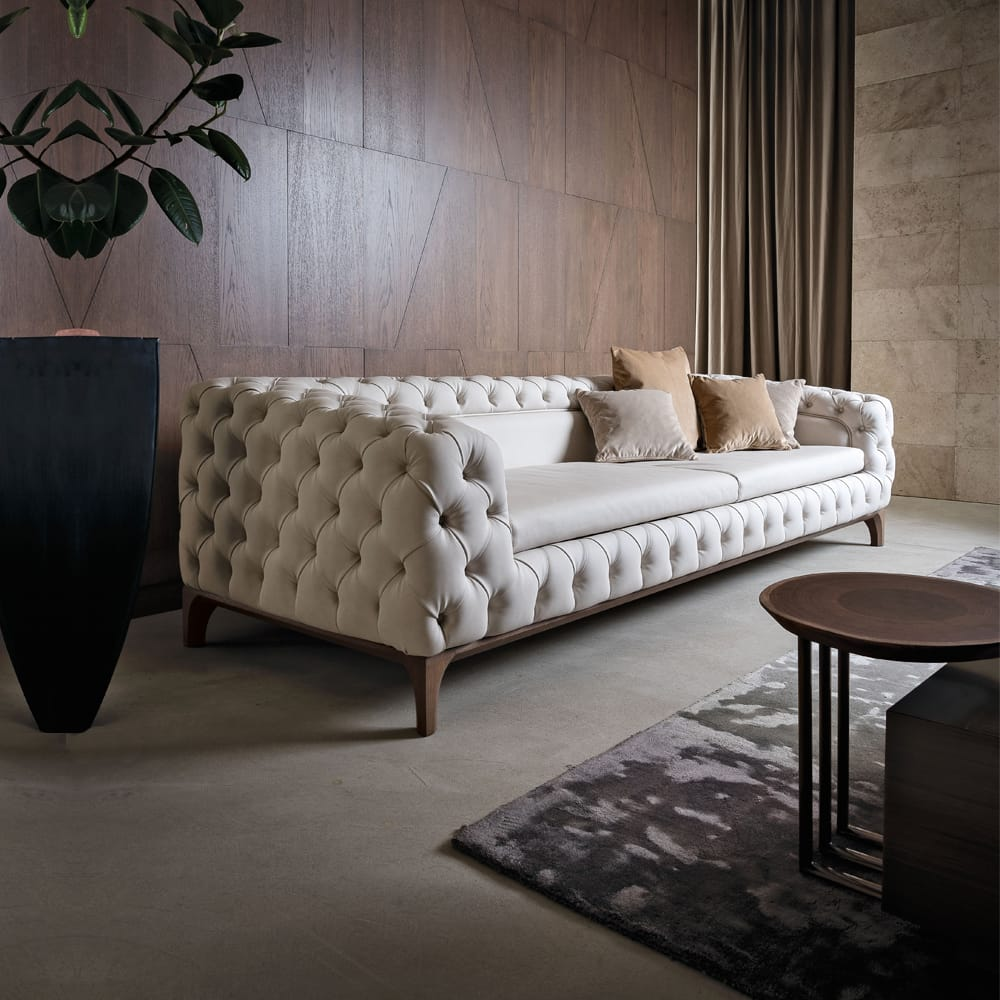 Impress the guests, luxury Italian leather sofa, deep button upholstery