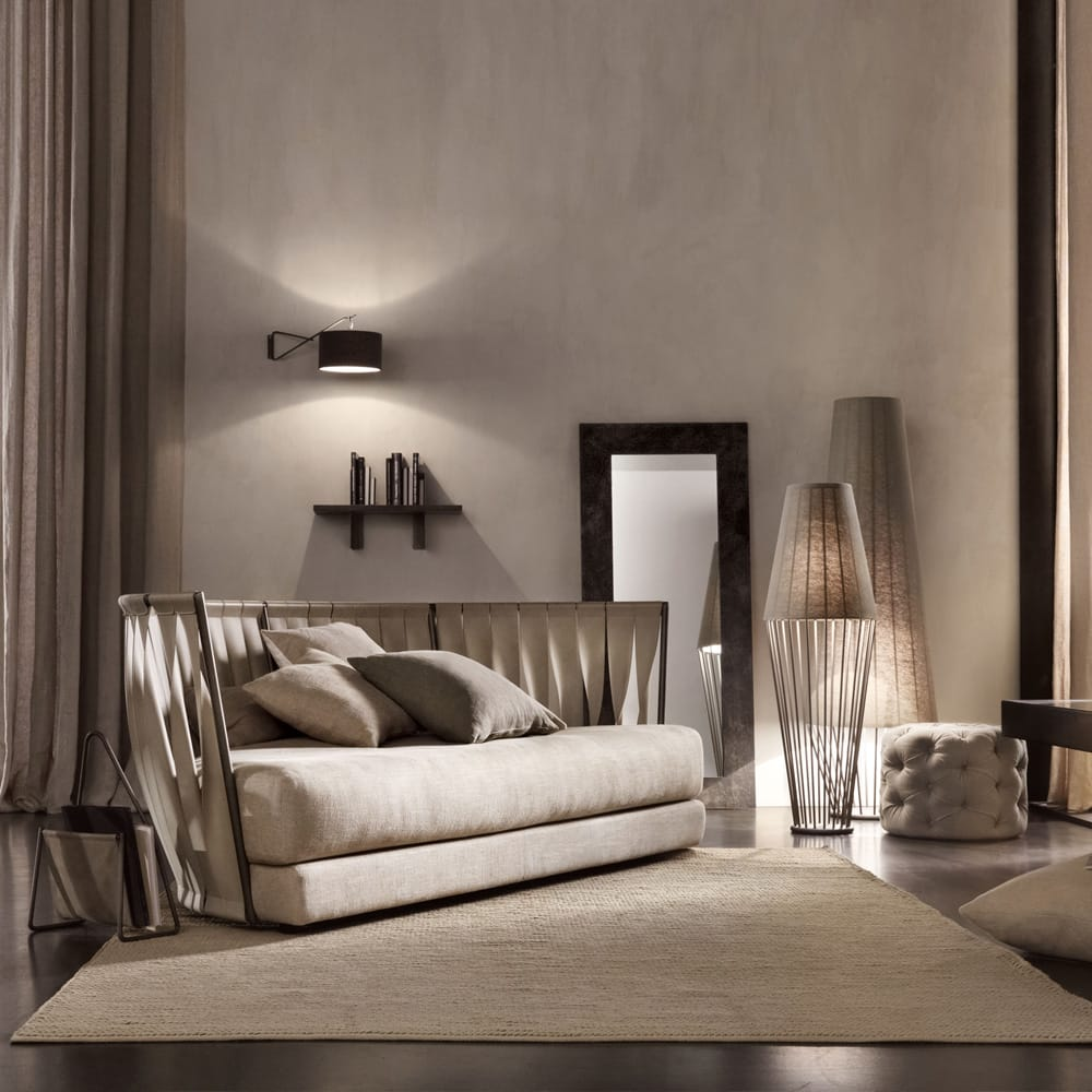 Chelsea Collection, nubuck leather sofa with back made of twisted leather strips