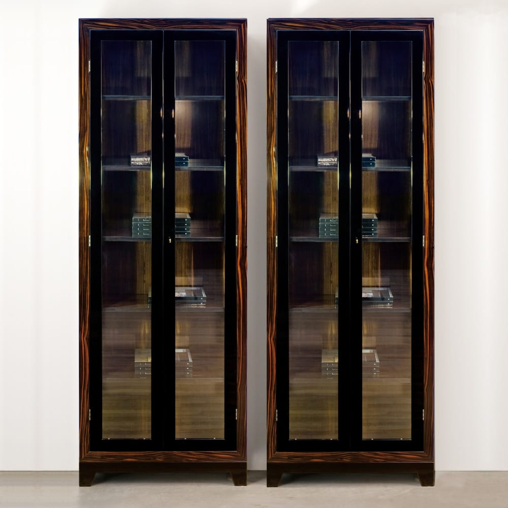 statement furniture, 2 glass fronted display cabinets, dark wood surround