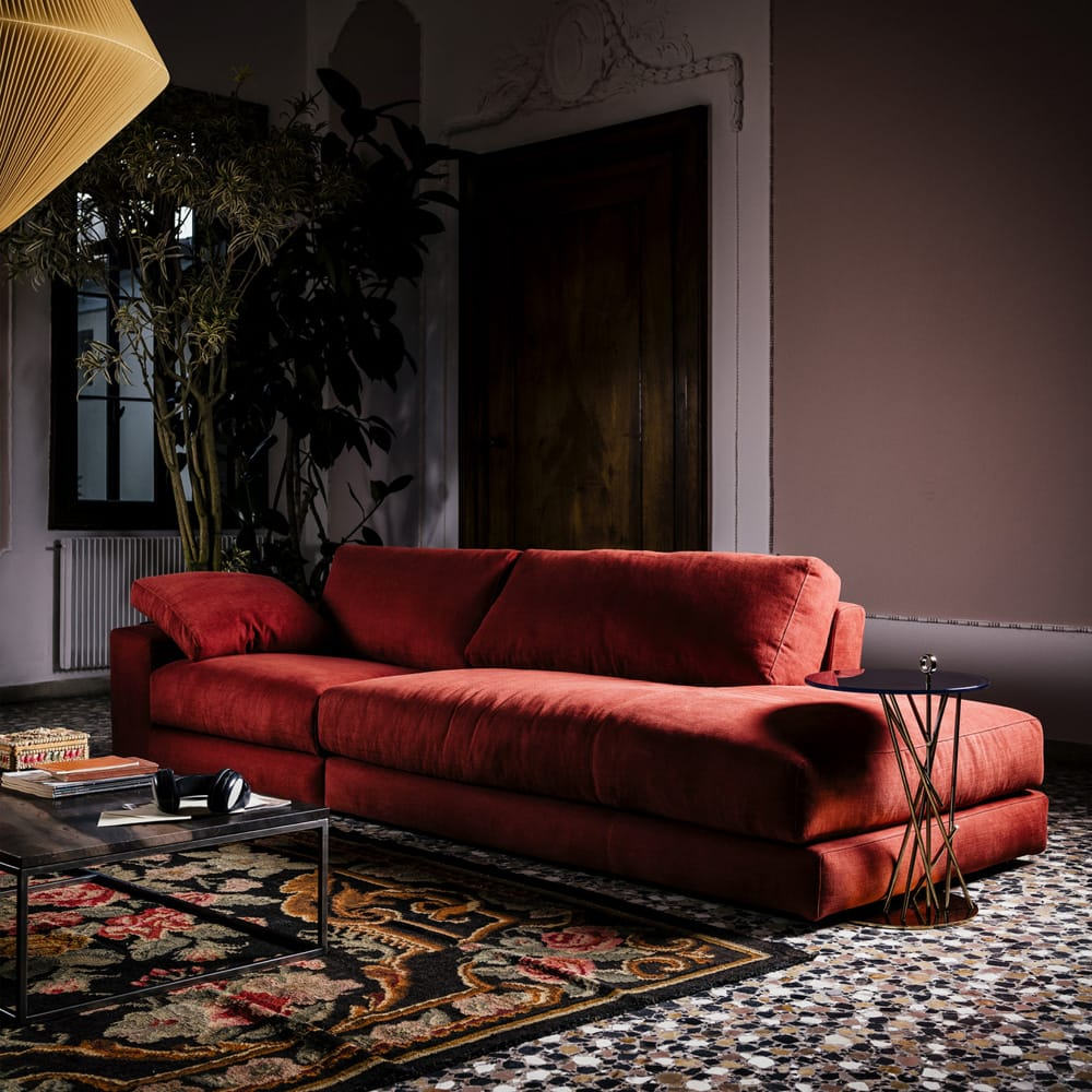 Impress the guests, modern red linen sofa with extended chaise-style end