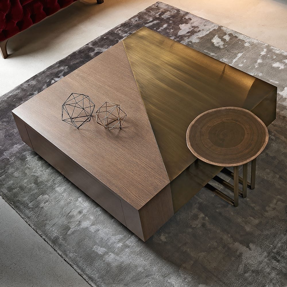 Impress the guests, square coffee table with diagonal panels in ebony and bronze