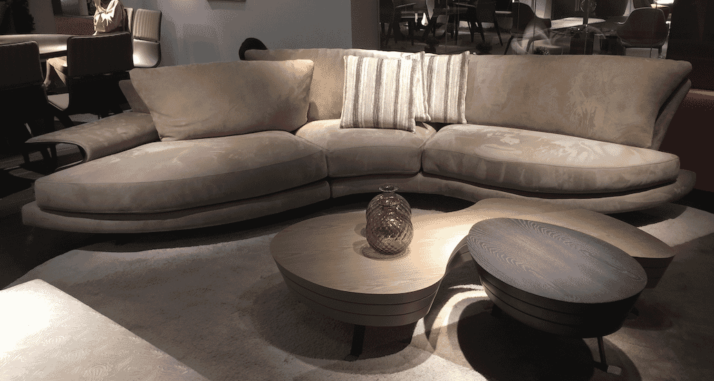 milan update organic shapes taupe sofa curved wooden coffee tables