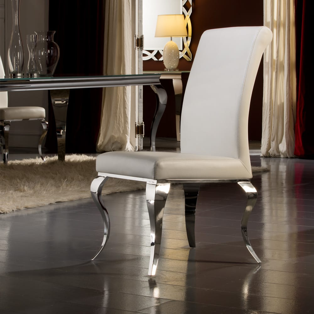 ex display white faux leather high backed dining chair with polished steel modern baroque stylised legs