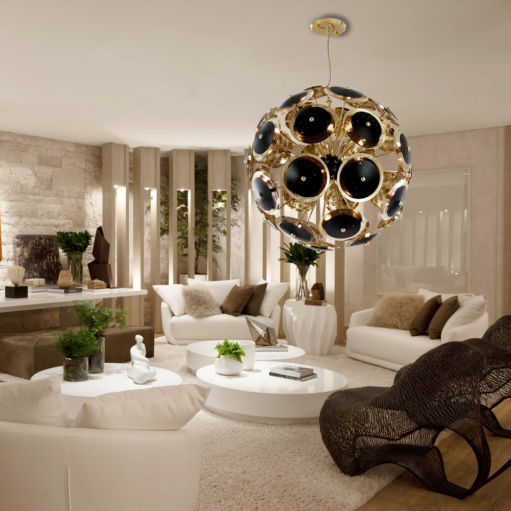 gold plated and black sphere chandelier