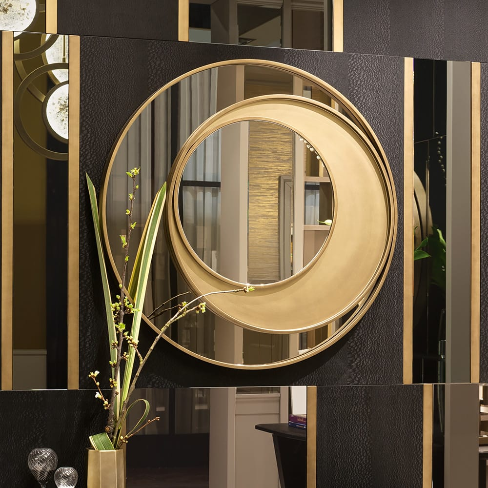 modern italian gold mirror 3 offset circles meet the designers