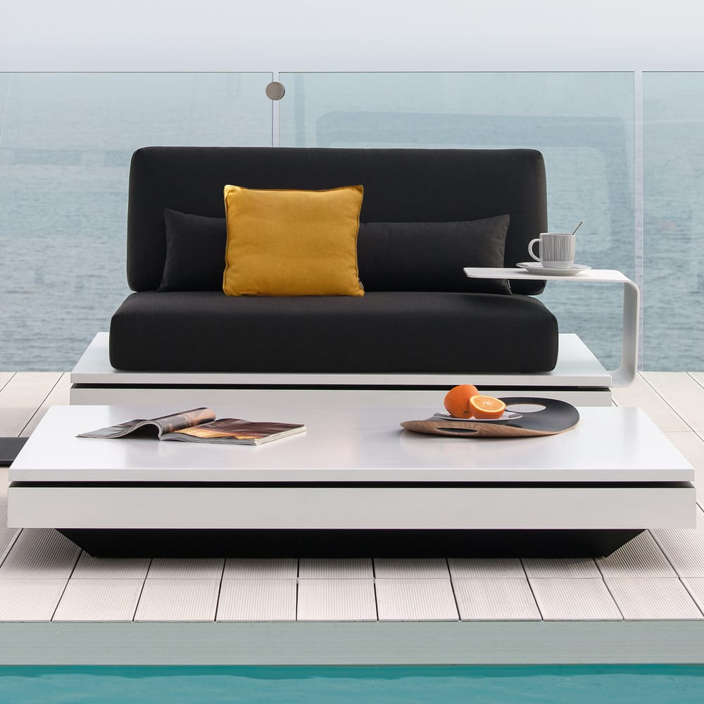 luxury garden furniture, contemporary modular seating, sofa, side table, coffee table