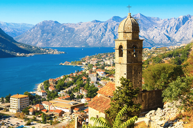 Montenegro bay view with church tower in foreground