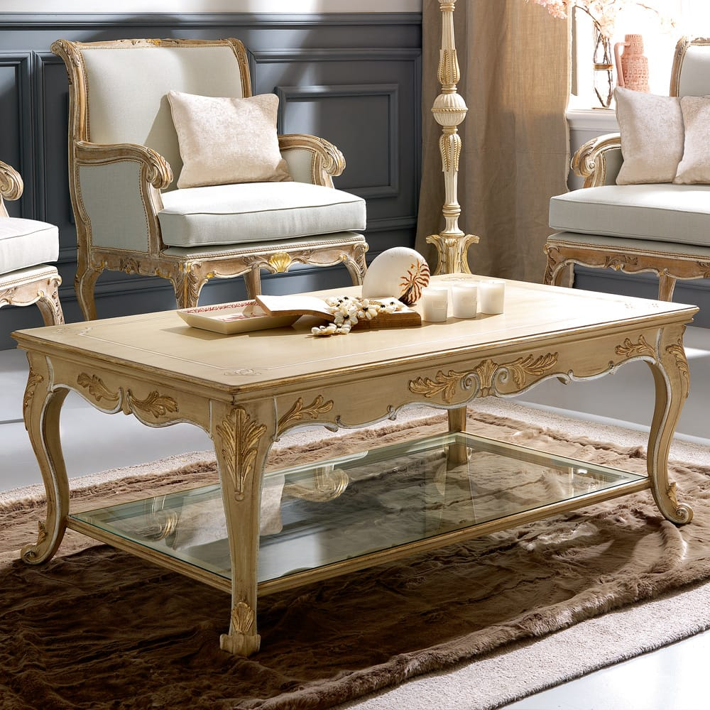 Florence Collection, ornate coffee table, ivory and gold, glass lower shelf
