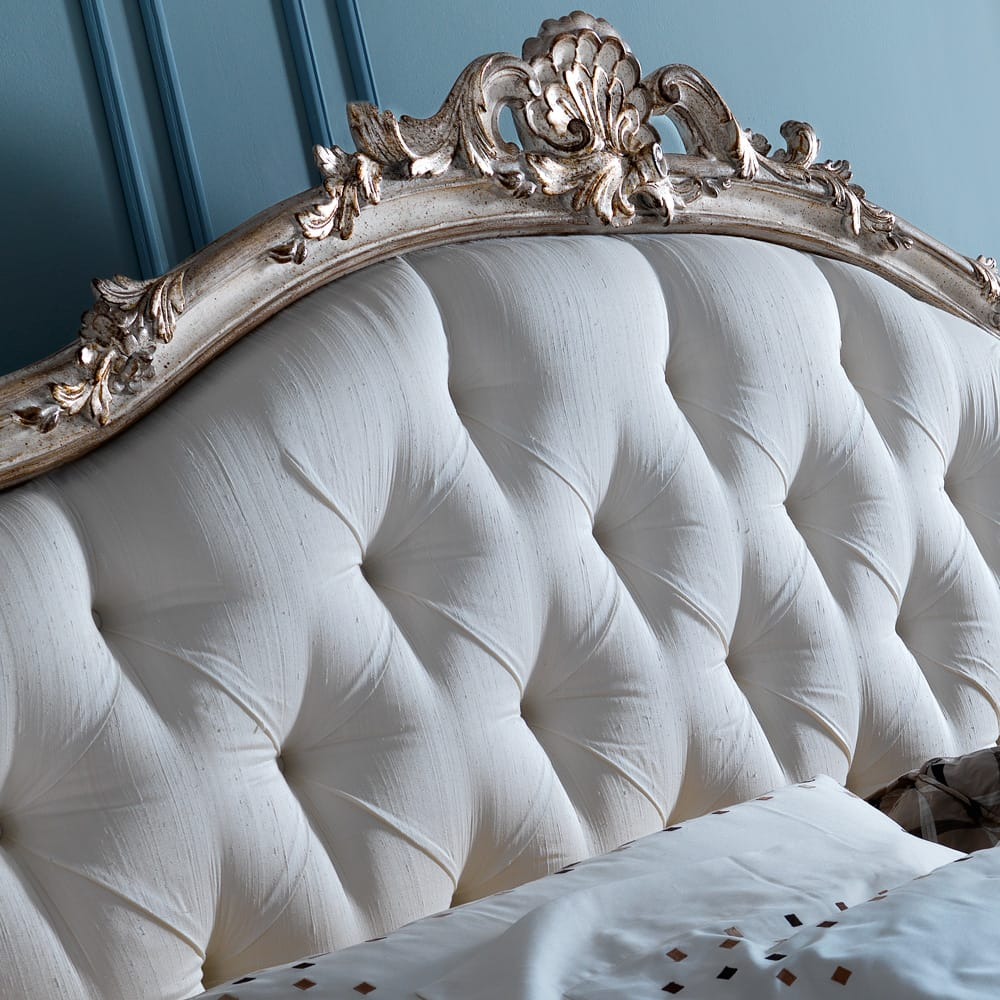 Ornate Rococo Button silk fabric Upholstered Bed